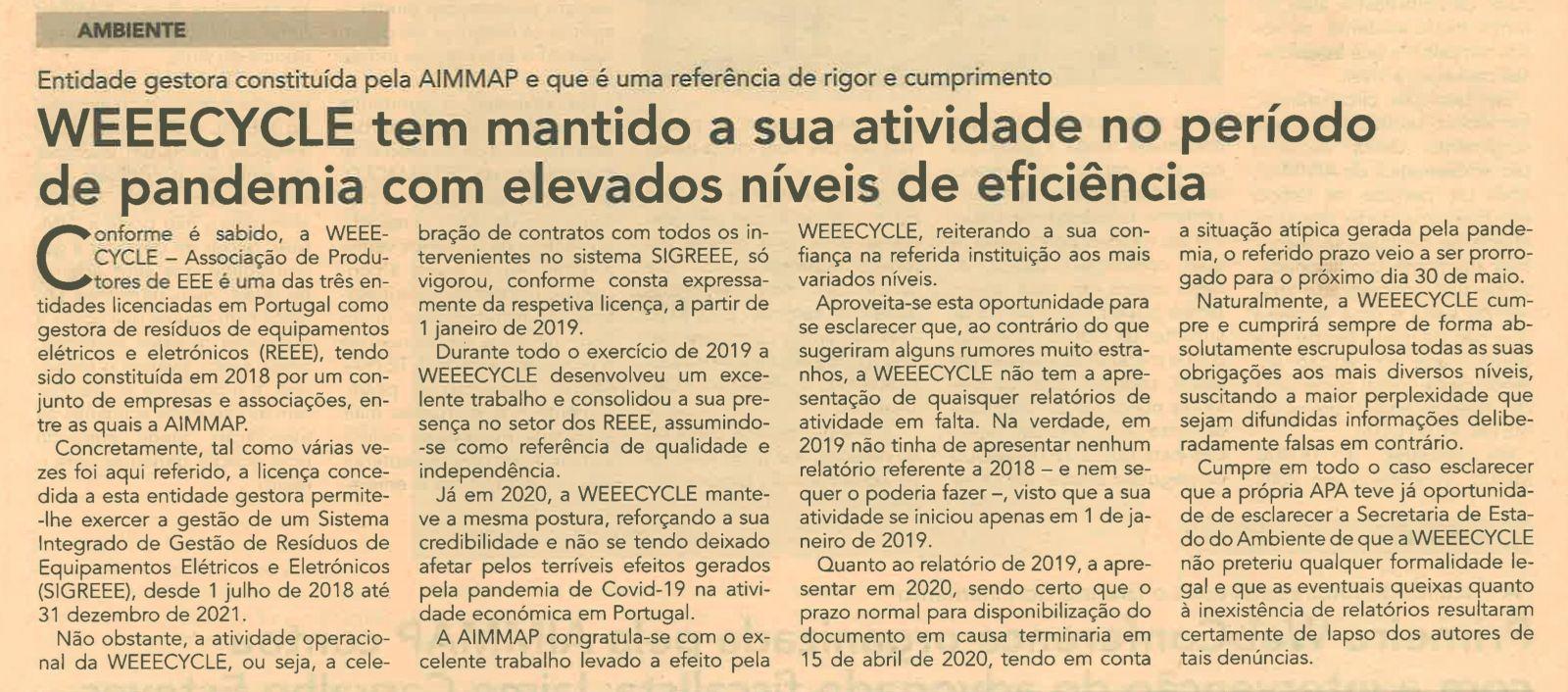 Notícia do jornal Vida Económica – atividade da WEEECYCLE em período de pandemia