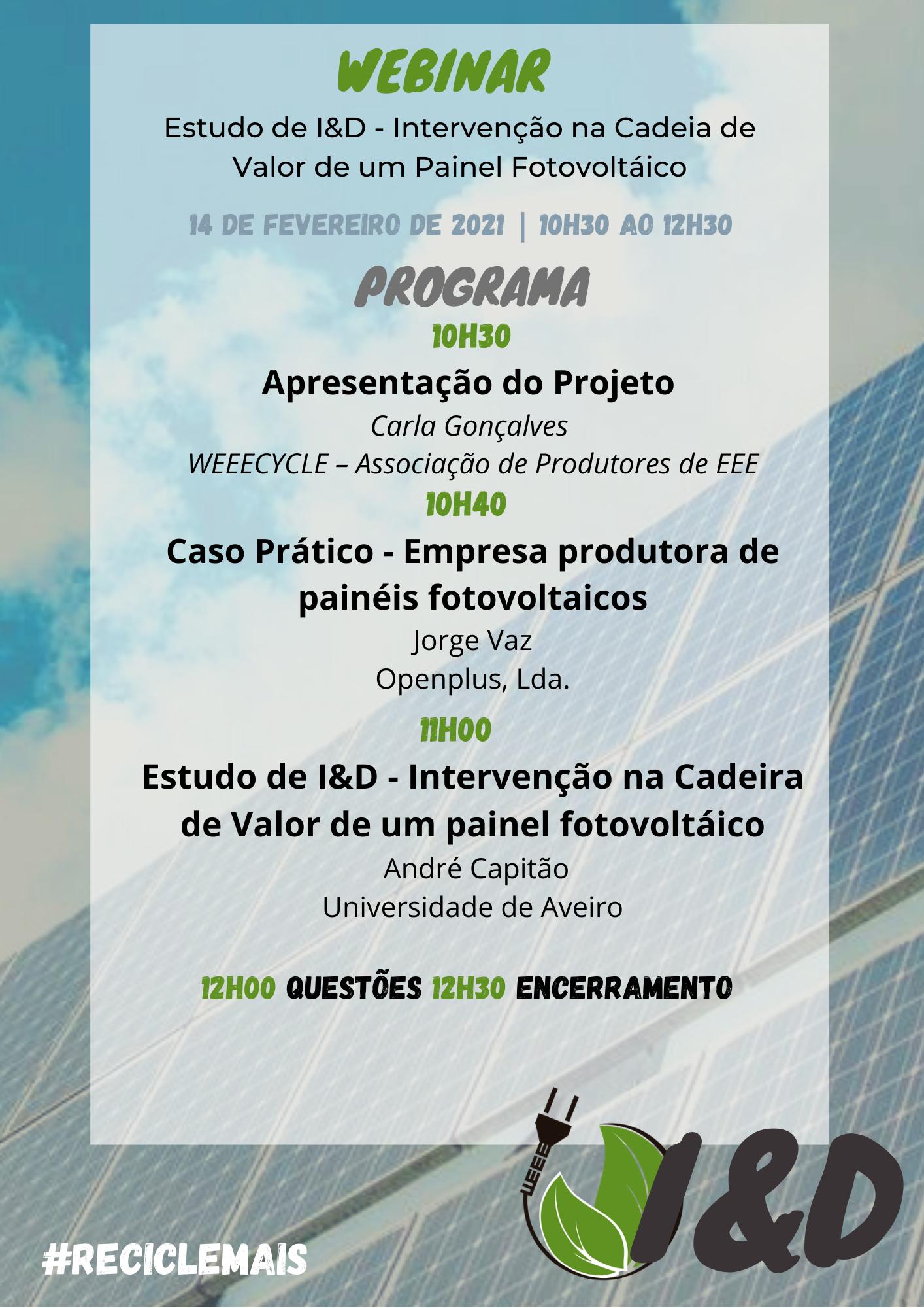 ESTUDO DE I&D – INTERVENÇÃO NA CADEIA DE VALOR DE UM PAINEL FOTOVOLTAICO   14 abril 2021